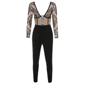 Jumpsuit Palazzo Dama Mujer Bandage Negro Encaje Beige Sexy 88434a009ee
