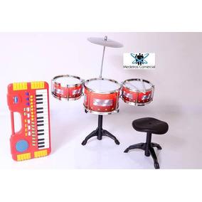 Kit Bateria Infantil 3 Tambor + Teclado Music Promoção Natal