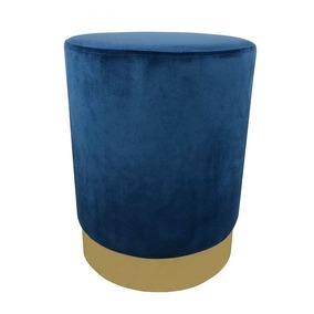 Banqueta Puff Em Veludo Azul Marinho
