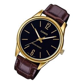 Relógio Casio Social V005 Couro Vidro Resistente A Riscos