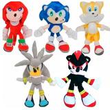 Muñeco De Peluche Sonic 30 Cm Shadow Nudillos Silver Tails