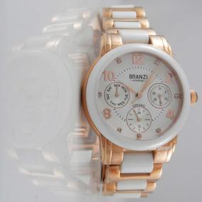 Reloj Dama Branzi By C. 20655 Ceramica Con Acero En Tono Oro