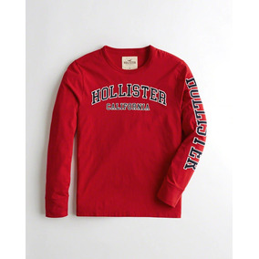 Hollister Camiseta Rojo Con Aplique Orginal Dp