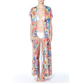 Kimono Largo Estampado De Lino Class Life. Fiyi