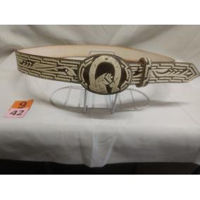 Cinturón Piteado Cafe (bordado En Hilo) T:42 M:9 -el Güero-