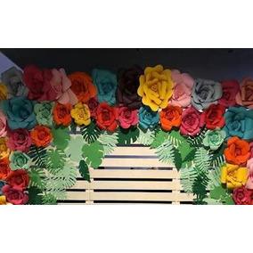 Flores De Papel Gigante - Para Painel 26 Unid + Folhagem