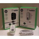 Cargador Belkin 2 Puertos Usb Con Cable Micro Usb Soms Tiend