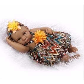 Boneca Bebe Reborn Barato Menina Negra Realista Brinquedo