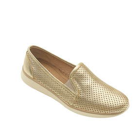 Calzado Dama Mujer Sneaker Flexi Perforado Piel En Oro Comod