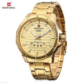 3975dda6c26 Relógio De Pulso Masculino Empresário Naviforce Dourado Luxo