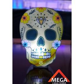 Luminaria Abajur Caveira Mexicana Decoração Led Bateria - Di