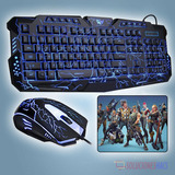 Kit Gamer Teclado Y Mouse Luces Led