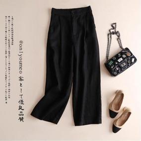 Pantalones Mujer Negros De Algodón Anchos Abajo Ropa Jeans ... 636d3c11e42