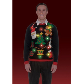 Ugly Sweater Sueter Feo Navidad Adulto Con Luces Led Unisex