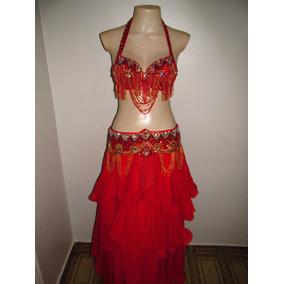 Roupa De Dança Do Ventre Luxo Vermelha Nova Completa