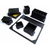 Porta Lápis & Caneta Em Kit Com 7 Peças Preto Personalizado