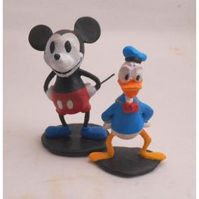 Miniatura Do Mickey Classico E Do Donald,em Resina,com 8 Cm