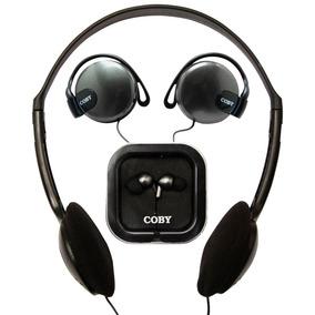 Kit Com 3 Fones Coby Cv324: Headphone + Auricular + Earphone