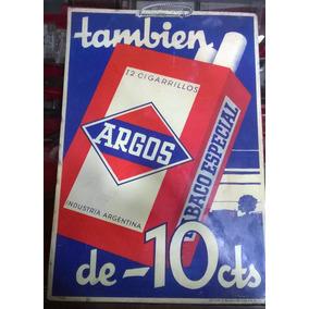 Publicidad Original En Cartón Cigarrillo Argos Circa 1900