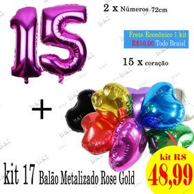 Balão Metalizado Coração Com Ou Sem Canudo 2 Cores - Decoração de ... 6612138da2