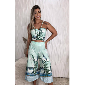 Conjunto Cropped E Short Rendado Renda Feminino -promoçao