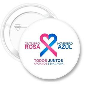 Botons Outubro Rosa / Novembro Azul - 120 Unidades 4,5cm