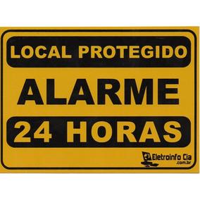 Kit 5 Placas Local Protegido Alarme 24 Horas 17,8x12,6cm Alu