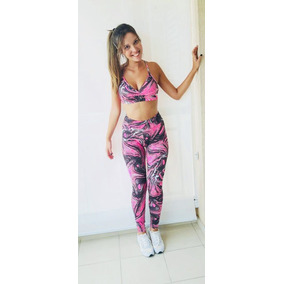 Conjunto Fitness Legging Estampada Roupas Academia