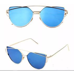Óculos Espelhado Feminino Olho De Gato Gatinho Metal Redondo ... 3fc9eaa59c