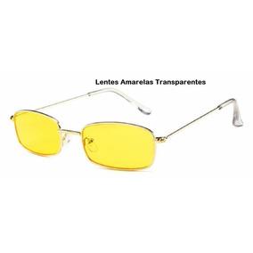 Óculos Pequeno Sol Fino Retangular Retrô Vintage Prot Uv400 7f3d6820a7