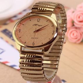 c71b7754c38 Relógio Feminino Pulseira Dourado Rose Elástica Lindo Barato