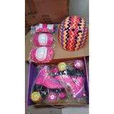 Patins Roller 4 Rodas Rosa E Roxo + Kit Protetor+brinde