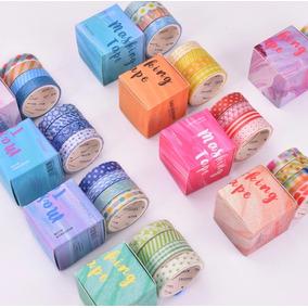 Washi Tape Kit 40 Fitas Adesiva Coleção Colorida Azul