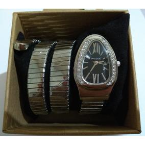 034d13a554f10 Relógio Feminino Bvlgari Serpente Cobra Preto Inox Luxo