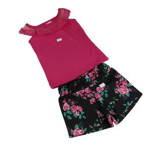 Kit 4 Conjuntos Blusa E Shorts Infantis Meninas Renda Cotton adc214fa3ec1b