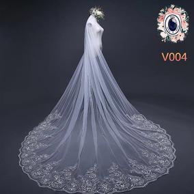 (promoção) Véu 4 Metro Noiva Casamento Bordado Renda Brilho 432a7f97f69