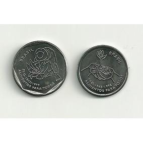 Moeda Comemorativa Do Brasil, 10 E 25 Centavos Da Fao 1995