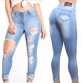 Roupa Feminina Calça Jeans Rasgada Cintura Alta Branca Dins