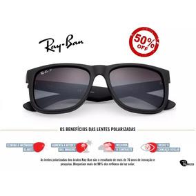 a12b9d71e78d1 Óculos De Sol Justin Rayban Wayfarer Preto Marrom Luxo