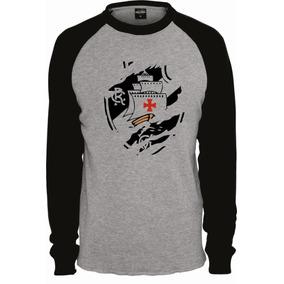 Camiseta Cinza Masculina Vasco Da Gama Raglan Manga Longa 9b10d4eacdbbe