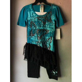 Conjunto (blusa Y Pants) Negro Con Turquesa De Mariposa Niña