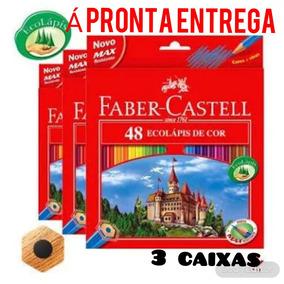 Lápis De Cor Faber-castell 3×48 Cores Com 3 Apontadores
