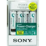 4 Pilas Recargables Aa 2500mah + Cargador Sony Made In Japan