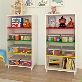 Estante Organizador Brinquedos Prateleiras Coloridas Caixa
