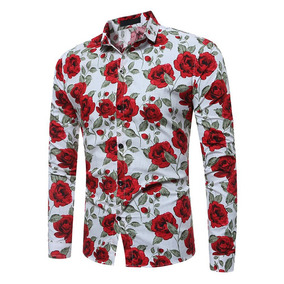 Camisa Floral De Manga Larga Con Flores Para Hombres 1555c90b2d2