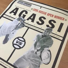 Pôster Vintage Tennis - Andre Agassi Vs Pete Sampras Nike 95