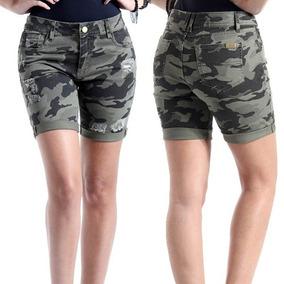 Shorts Jeans Feminino Sawary Camuflado Militar