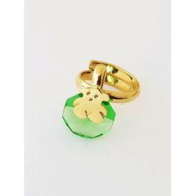Anillo De Oso Con Cristal Verdeswarovski De Chapa De Oro 18k