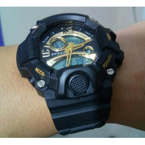 009a9672d94 Relógio Militar S Shock Led Digital Prova Dágua Preto   Ouro