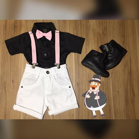2d6fea39840 Conjunto Infantil Tema Mundo Bita Camisa Bermuda Suspensório